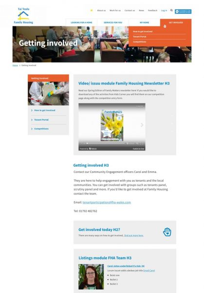 FHA best housing association website design