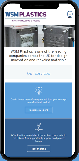 WSM UK tool making specialist and recycled plastic injection moulding manufacturer mobile manufacturing specialist website design agency